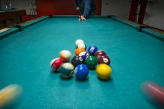 Billiards game pictures. Pictures taken on a billiard `s table Stock Photo