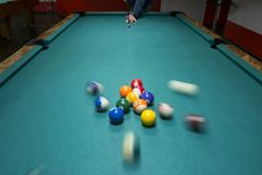 Billiards play pictures. Pictures taken on a billiard `s table Stock Image