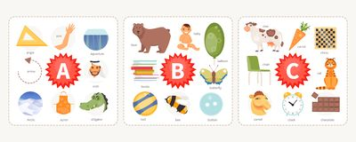 Pictures to letters A, B, C vector. Educational cards with words and pictures to the letters A, B, C. Children alphabet. Vector illustration royalty free illustration