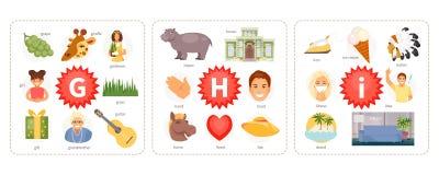 Pictures to letters G, H, I vector. Educational cards with words and pictures to the letters G, H, I. Children alphabet. Vector illustration stock illustration