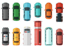 Pictures of transportation top view. Cars isolated on white background. Vector city models Royalty Free Stock Images