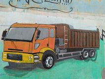 pictures of trucks on the wall stock photos