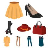 Pictures about types of women`s clothing. Outerwear and underwear for women and girls. Woman clothes icon in set Royalty Free Stock Photo