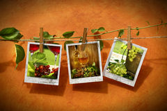 Pictures with vine pinned on clothesline Stock Photo