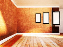 Pictures on the wall in the empty room. Three pictures on the wall in the empty room Royalty Free Stock Photos