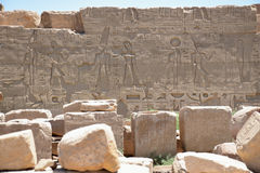 The pictures on the walls of Luxor templeю. Egypt Royalty Free Stock Photos