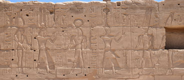 The pictures on the walls of Luxor temple Stock Images