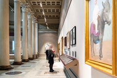 Pictures in White Hall of Pushkin Museum in Moscow stock photos