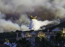 Wildfire near houses. Pictures of a wildfire that was near houses Stock Images