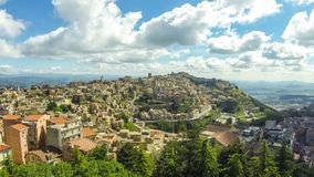 Picturesque aerial view of Enna old town, Sicily, Italy. Aerial view of Enna old town, Sicily, Italy. Enna is a city and comune located at the center of Sicily stock footage