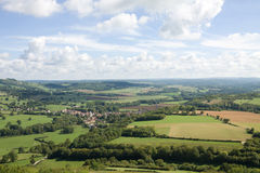 Picturesque aerial view in France. View from the hill of Vezelay Abbey. The Vezelay is located in the Yonne province in Burgundy Royalty Free Stock Photography