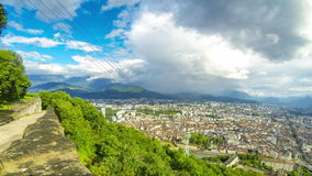 Picturesque aerial view of Grenoble city, France stock video
