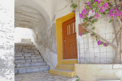 Picturesque alley and  bougainvillea flower Stock Image