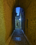 Picturesque alley night view, Chios island Stock Photography