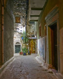 Picturesque alley night view, Chios island Royalty Free Stock Image