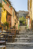 Picturesque alley at plaka leads to acropolis. Athens, Greece Royalty Free Stock Image