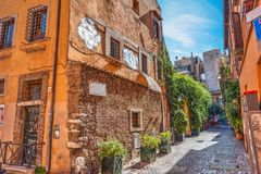 Picturesque alley in Trastevere. Rome, Italy stock image