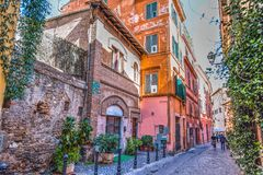 Picturesque alley in Trastevere. Rome, Italy stock photography