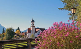 Picturesque alpine church, wallgau village Stock Photography
