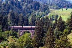 A picturesque Alpine landscape with an old railway bridge. Austria stock images