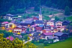 Picturesque alpine village of Tisens aerial evening view. Kastelruth, Trentino Alto Adige region of of Italy Royalty Free Stock Photos