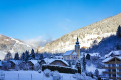 Picturesque Alps village in Austria winter view Stock Photos