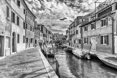 Picturesque architecture along the canal, island of Burano, Veni Stock Photography