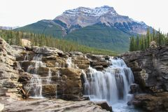 Picturesque athabasca falls river canada. Powerful picturesque athabasca falls and river canada royalty free stock image