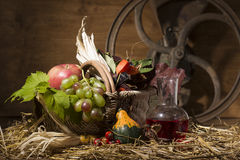 Picturesque autumn composition with basket, fruits, pumpkin, win Royalty Free Stock Photos