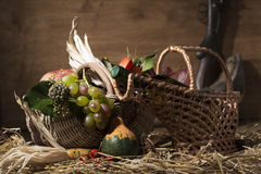 Picturesque autumn composition with basket, fruits, pumpkin, win Royalty Free Stock Image