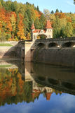 Picturesque autumn. Dam Les Kralovstvi in Bila Tremesna, Czech Republic Stock Images
