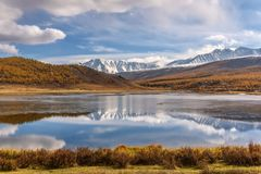 Lake mountains reflection ice autumn Royalty Free Stock Photos
