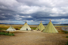 Picturesque autumn landscape with the tepees Stock Photos