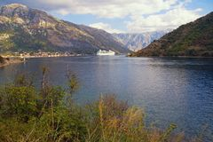 Picturesque autumn Mediterranean landscape.  Montenegro, view of Bay of Kotor Stock Image
