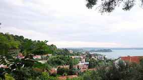 Picturesque autumn view of sorrento. Sorrento. Italy - Month 09.2015: Picturesque autumn coastal view of italian scenery with fashionable resort in natural royalty free stock image