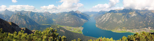 Picturesque autumnal landscape and panoramic view to achensee, a Royalty Free Stock Images