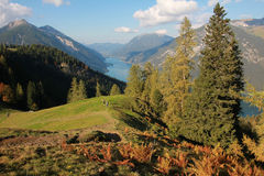 Picturesque autumnal landscape and view to achensee, austria Stock Photography