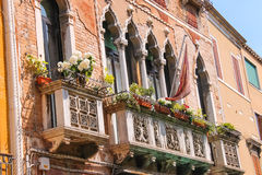 Picturesque balcony with flowers Royalty Free Stock Photo