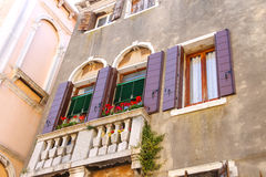Picturesque balcony with flowers Royalty Free Stock Photography