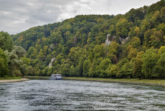 The picturesque banks of the Danube, Germany. The picturesque wooded banks of the Danube near Kelheim, Germany stock images