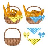Picturesque baskets of bread and pastries decorated with scarves and polka-dot bows. Set of isolated objects on white background stock illustration
