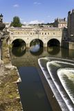 Picturesque Bath. Historic Pulteney Bridge over the River Avon, Bath, UK Royalty Free Stock Images