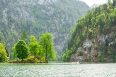 Picturesque Bavarian Lake, Koenigssee, Bavaria, Germany. The Landscape Of A Mountain Lake With A Small Island In The Middle. Stock Image
