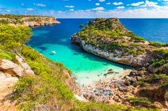 Picturesque bay Cala des Moro beach Majorca Spain. Picturesque bay beach Majorca Cala des Moro, beautiful island scenery, Mallorca Spain Mediterranean Sea stock photos