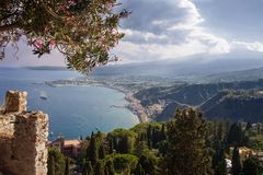 Picturesque bay. Taormina. Sicily. Italy stock images