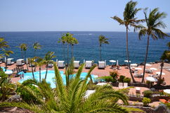 Picturesque beach club in Costa Adeje on Tenerife Stock Photos