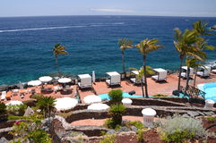 Picturesque beach club in Costa Adeje on Tenerife Royalty Free Stock Photography