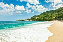 Picturesque beach on the coast of the Aegean Sea. Greece, Europe stock image