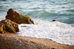Picturesque beach with soft waves of the black sea Stock Photo