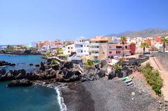 Picturesque beach and volcanic rocks in Alcala on Tenerife Stock Image